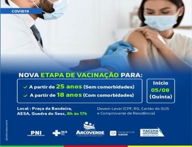 Arcoverde amplia vacinação para pessoas com 25 anos a partir de quinta